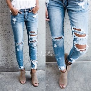 Distressed destroyed jeans denim frayed skinny